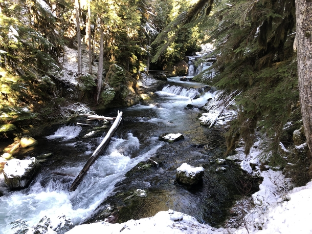 The McKenzie River after a fresh dusting of snow Willamette National Forest Oregon