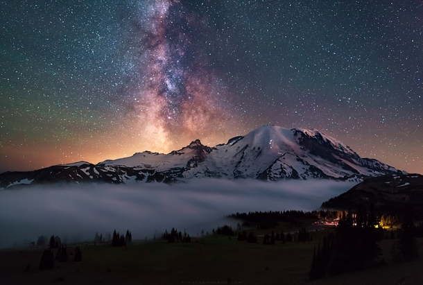 The Milky Way above Mt Rainier after fog settles near the Sunrise Visitors Center