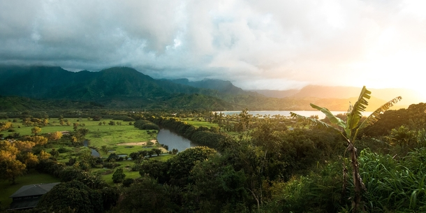 The Mountains of Kauai and Hanalei Bay