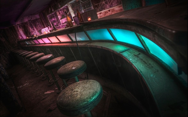 The old retro bar in the abandoned Pines Hotel