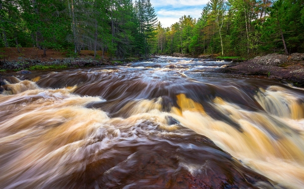 The rootbeer colored water of the Amnicon River in northern Wisconsin is caused by tannins from the decomposition of wetland plants