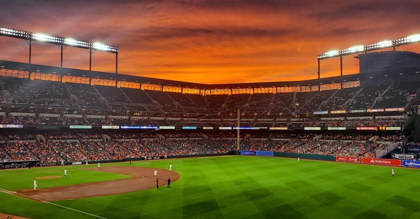 The sky was showing off at Oriole Park at Camden Yards in Baltimore Maryland tonight
