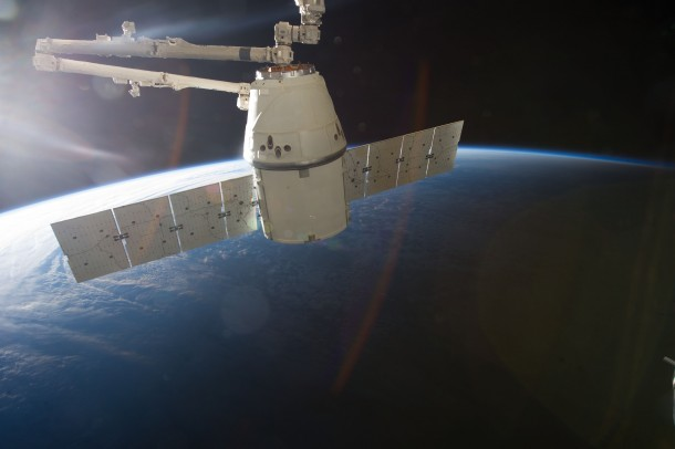 The SpaceX Dragon spacecraft after it was undocked from the ISS