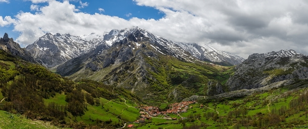 The Spanish village of Sotres in the Picos de Europa mountain range