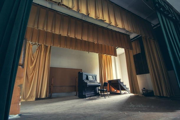 The stage of an abandoned theatre in San Antonio TX