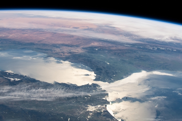 The Strait of Gibraltar as seen from space - It connects the Atlantic Ocean with the Mediterranean Sea Credit NASA Johnson