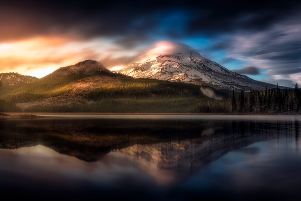 The sun setting on South Sister near Bend Oregon