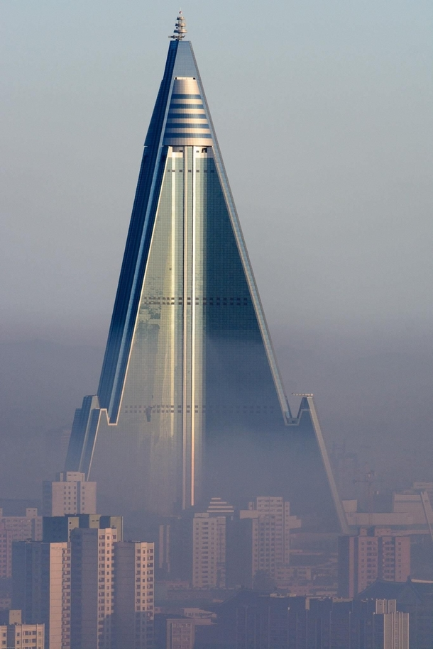 The tallest unoccupied building in the world the North Korean Ryugyong hotel