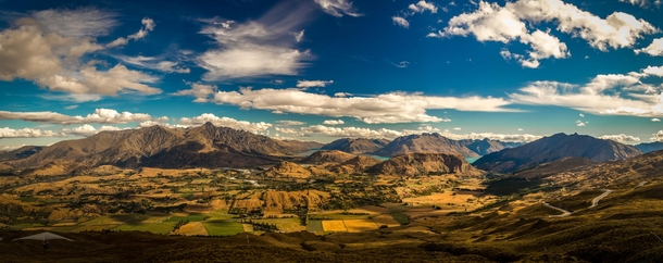 The view from Coronet Peak with Lake Wakatipu in the distance - New Zealand  photo by zlatandichev
