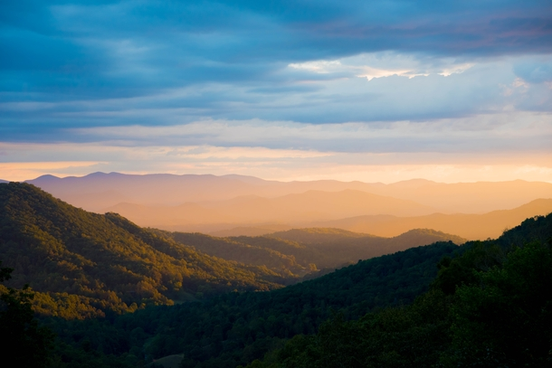 The view from my home in the Great Smoky Mountains of North Carolina during a golden sunset