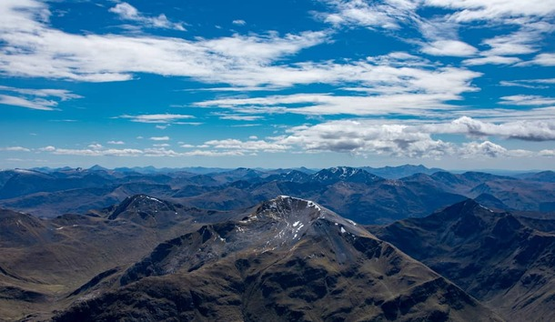 The view from UKs highest point Ben Nevis Scottish highlands