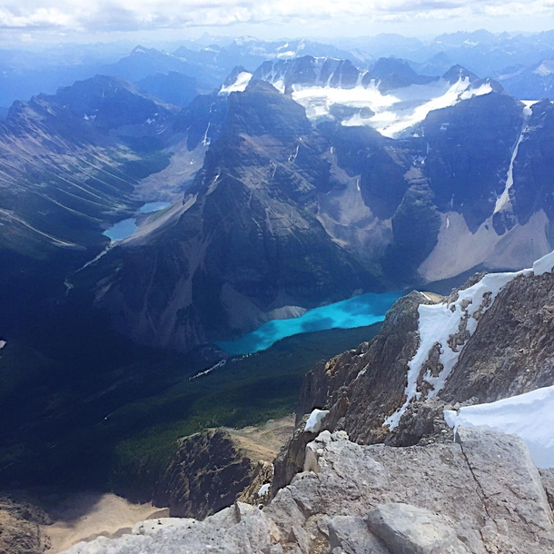 The view I had from the top of Mount Temple at   feet Alberta Canada