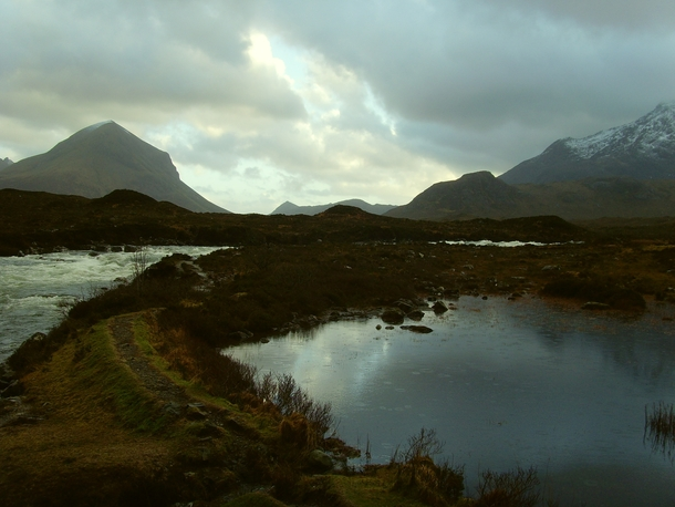 The view near Sligachan Bridge in Isle of Skye Scotland