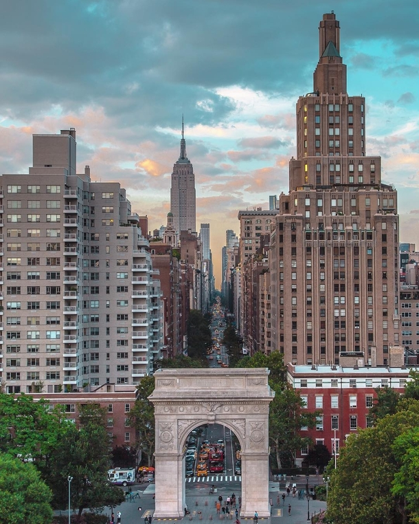 The Washington Square Arch and beyond NYC  by sid
