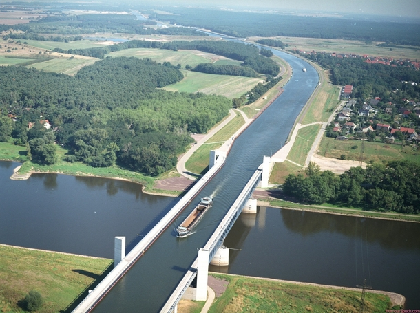 The water bridge across the river Elbe Germany
