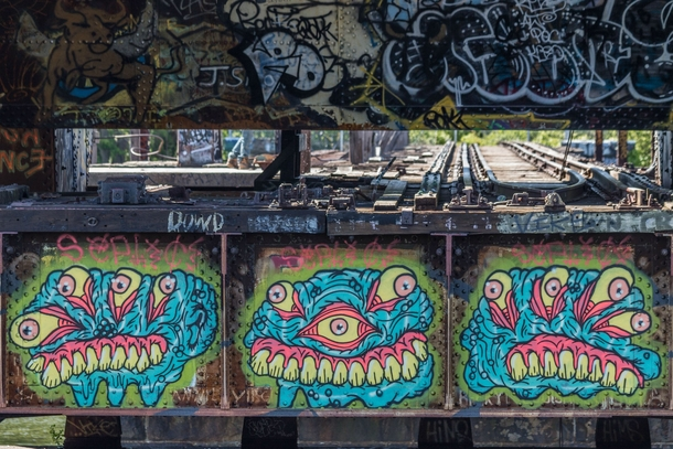 This abandoned bridge in my city is a constant showcase for great graffiti
