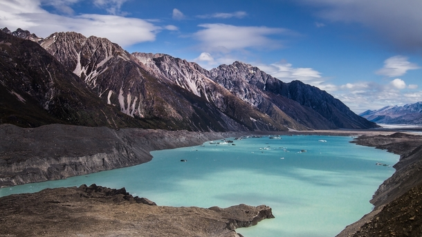 This lake is km long km wide and m deep It did not exist  years ago Tasman Glacier Lake AorakiMount Cook National Park New Zealand  x