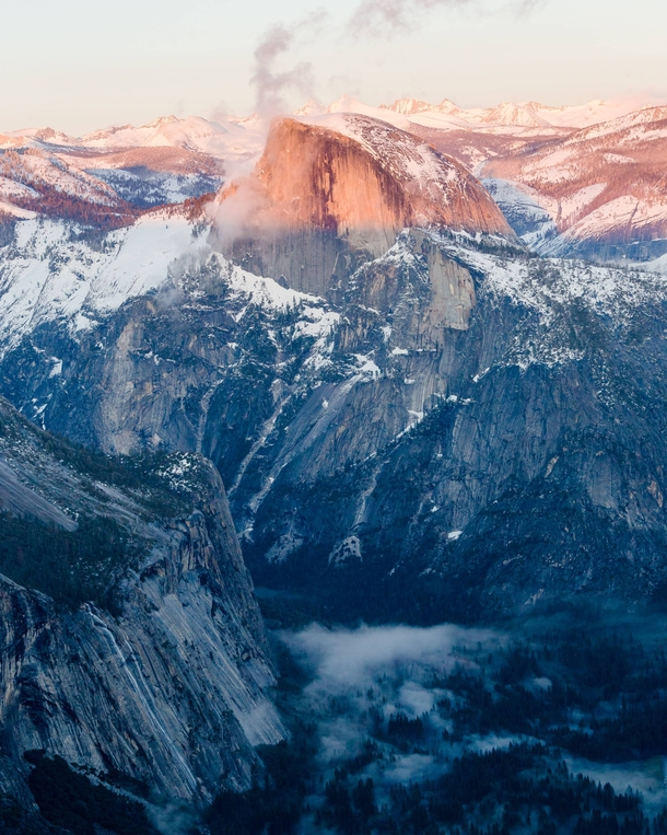 This less common view of the iconic Half Dome requires snowshoes to get to during the winter Great way to get away from the crowds in Yosemite National Park