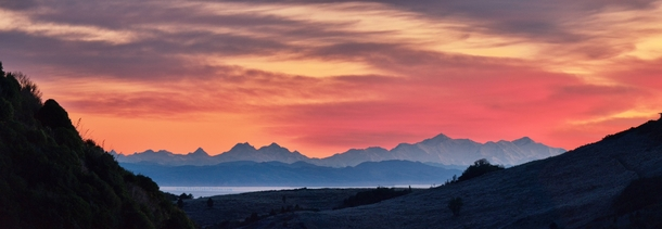This mornings sunrise from the Canterbury Port Hills facing the Kaikoura Ranges - Canterbury New Zealand