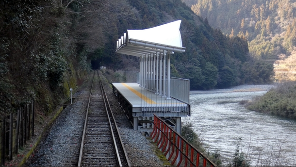 This train stop in Japan has no entries or exits it has been put there merely so that people can stop off in the middle of a train journey and admire the scenery