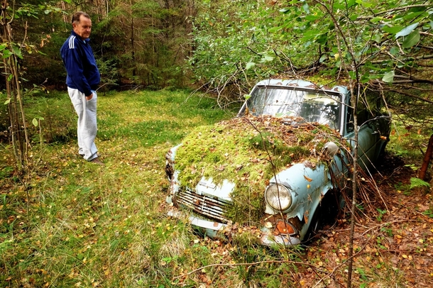 Took my dad to see if his first car was still where he left it when its engine seized --  years ago It was