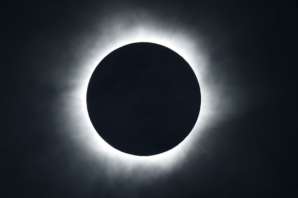Total solar eclipse from the beach of Ternate island Indonesia
