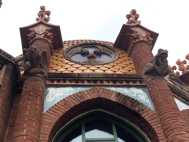 Tower details from a pavilion Hospital Sant Pau Barcelona
