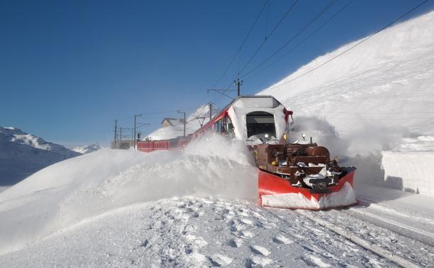 Train With Snow Plow In Switzerland Photorator
