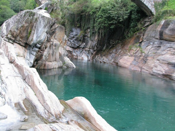Turquoise river in the Verzasca Valley Switzerland