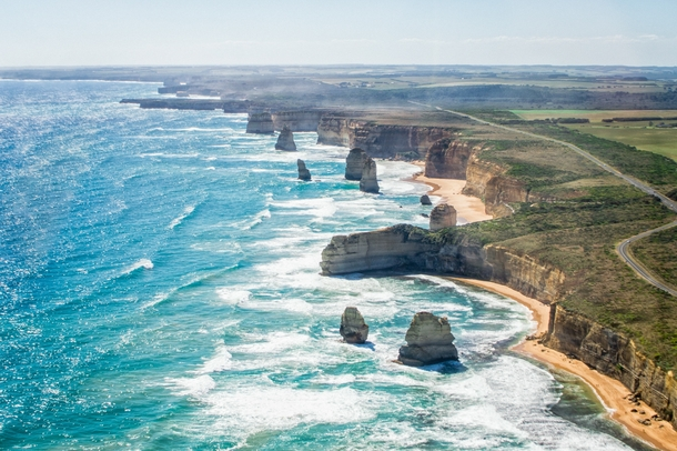 Twelve Apostles from the air Victoria Australia