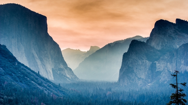 Twilight on a foggy morning Yosemite Valley CA