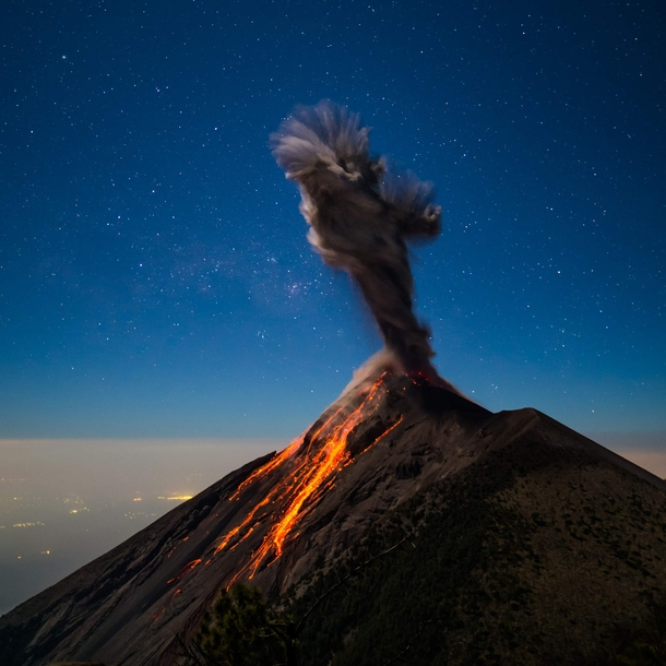 Twisting smoke from the eruption of Volcn de Fuego Guatemala  Photo by Andy Shepard