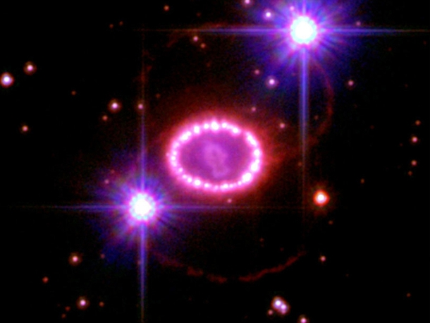 Two decades ago astronomers spotted one of the brightest exploding stars in more than  years Since that first sighting the doomed star called Supernova A has continued to fascinate astronomers with its spectacular light show