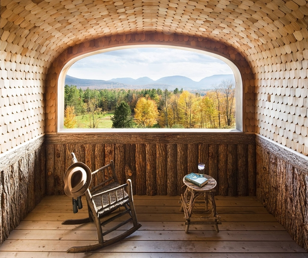 Uniquely shingled Wes Anderson Viewing Room with Stunning Views of New England Fall Foliage Built  by George A Reid - Onteora NY