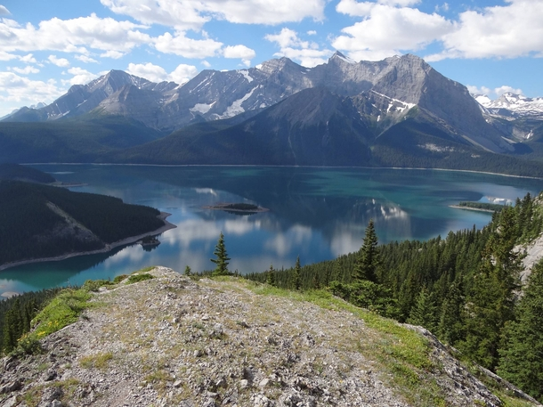 Upper Kananaskis Lake from Indefatigable trail Alberta Canada