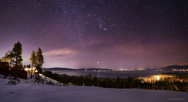 Vibrant winter stars over Lake Tahoe a week ago Thats Siriuss bright reflection on the water