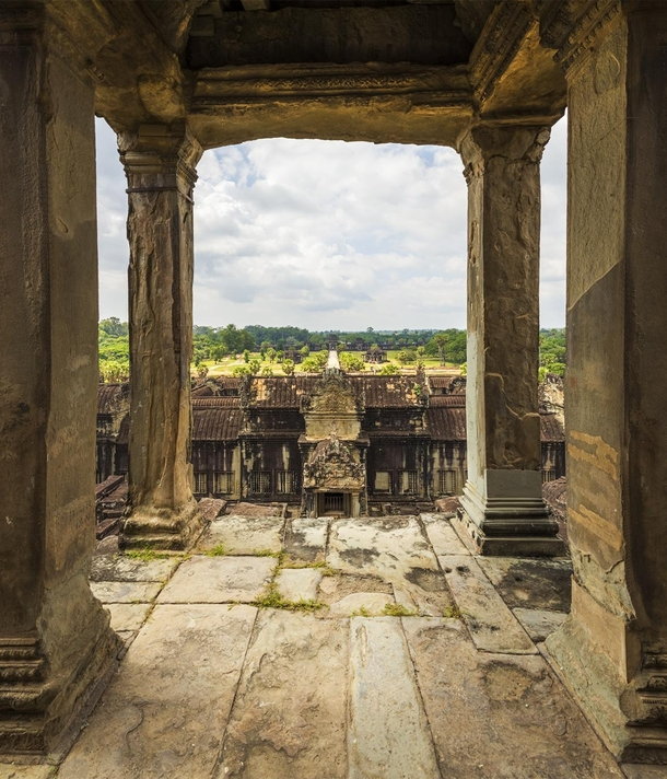 View from the main tower of Angkor Wat Cambodia