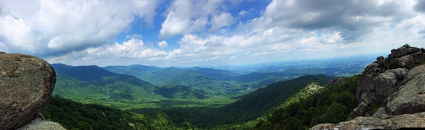 View from the peak of Old Rag mountain in Shenandoah National Park Virginia Taken with the iPhones panorama setting