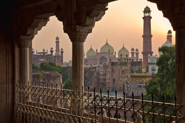 View of Badshahi Mosque From The Balcony Of Lahore Fort Lahore Punjab  Pakistan