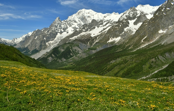 View of Mont Blanc from the Italian Val Veny