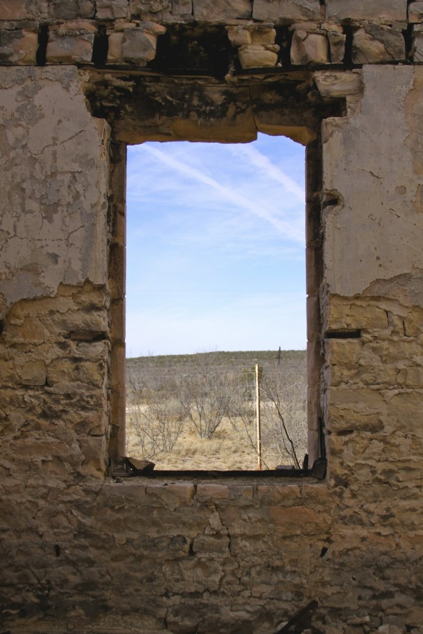View Out the Window of Abandoned Courthouse Stiles Texas