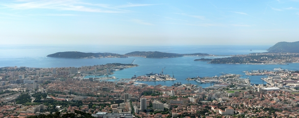 View over the mediterranean city of Toulon France showing the main military port of France with multiple warships docked