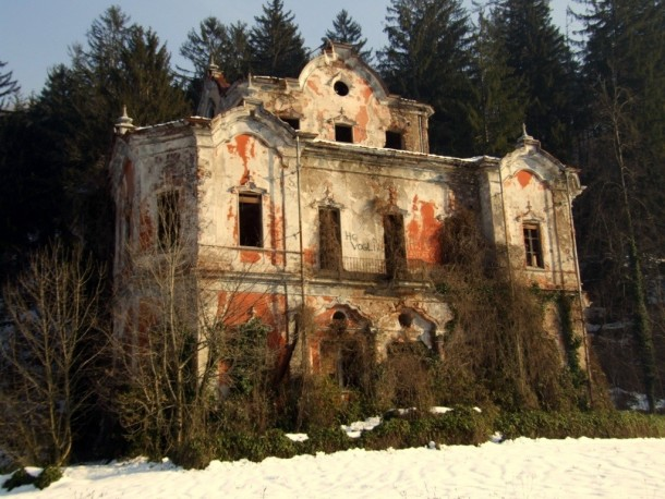 Villa De Vecchi Or The Ghost Mansion In Mountains East Of Lake Como Italy