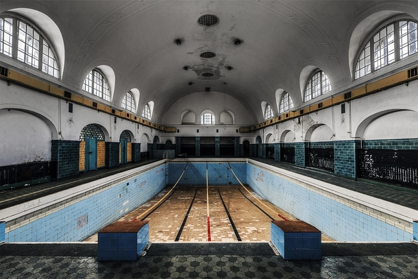 Water shortage the lane dividers are still left hanging in an abandoned swimming pool at a - Indoor swimming pool berlin ...