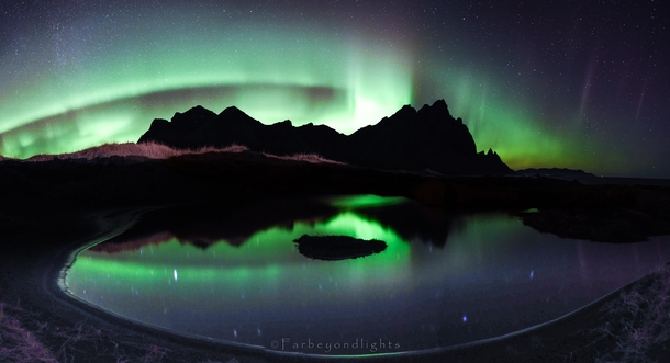 We spent  days in Hfn trying to shoot the Vestrahorn mountain Low hanging clouds made that impossible to achieve We were almost about to give up when the clouds opened up to display this beautiful scene Hands down the most incredible northern lights I hav