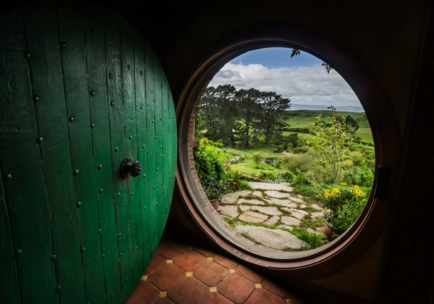 What it looks like from inside Bilbos hole in Hobbiton New Zealand