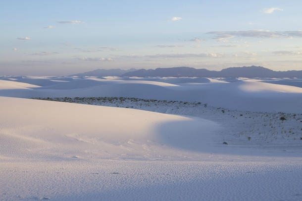 White Sands National Monument is breathtaking just before sunset OC
