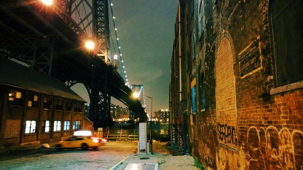 williamsburg bridge at night as seen from wythe avenue. Black Bedroom Furniture Sets. Home Design Ideas