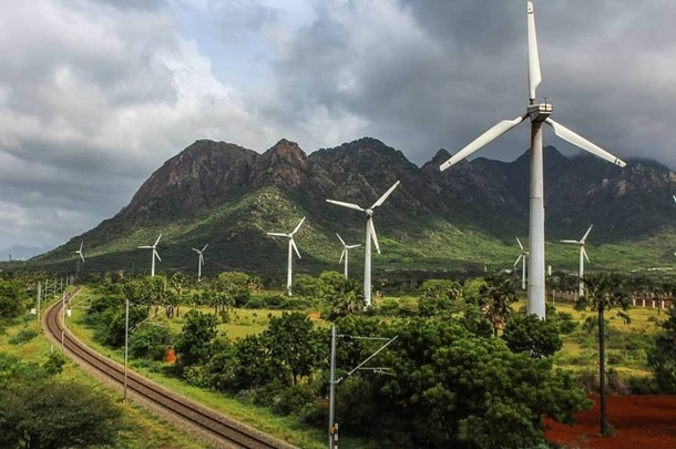 Wind farm at Nagercoil in Tamil Nadu India