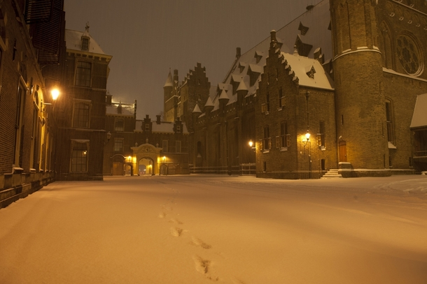 Winter Midnight in The Hague The Netherlands